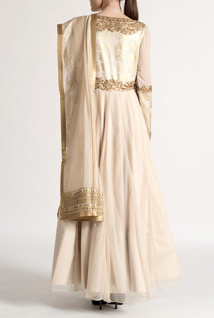 Satya Paul Beige Embellished Super Net Suit Set