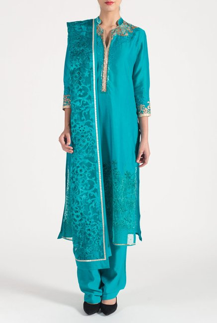 Satya Paul Turquoise Embellished Chanderi Suit Set