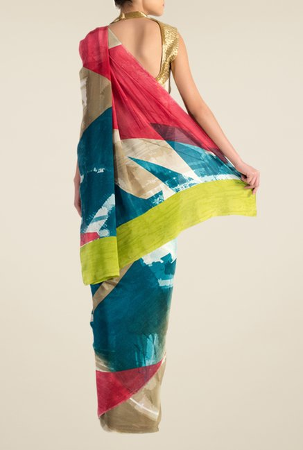 Satya Paul Brown Crepe Saree