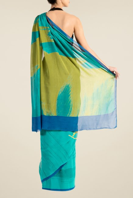 Satya Paul Teal Georgette Saree