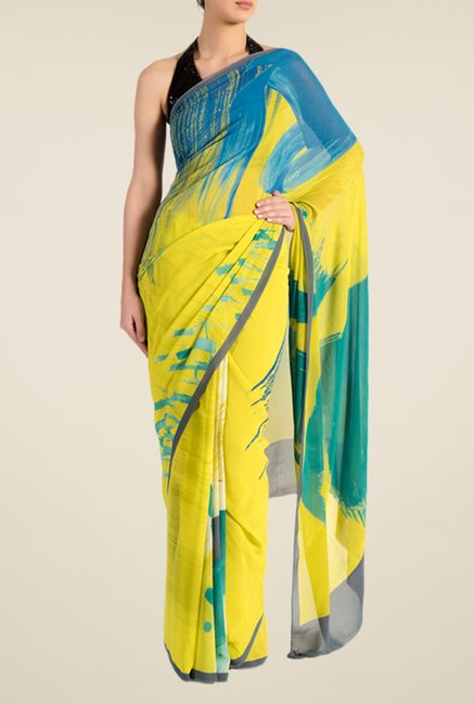 Satya Paul Yellow Georgette Saree