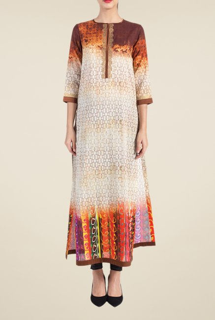 Satya Paul Beige & Brown Printed Kurta