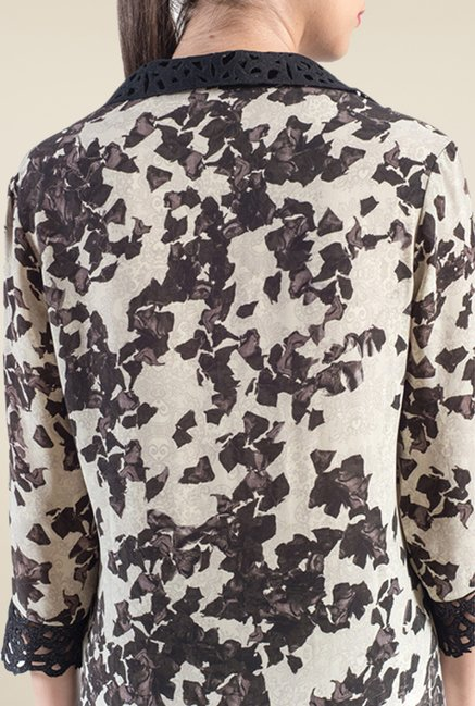Satya Paul White & Black Printed Kurta
