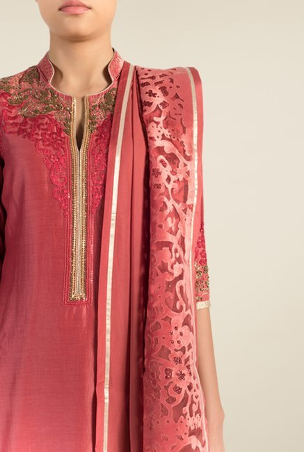 Satya Paul Pink Embellished Chanderi Suit Set