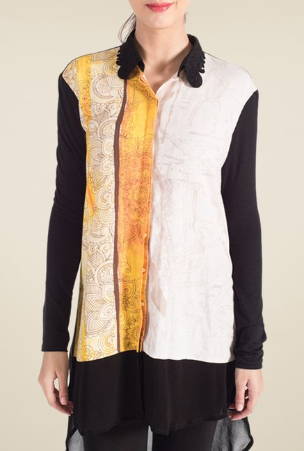 Satya Paul White & Black Printed Linen Shirt