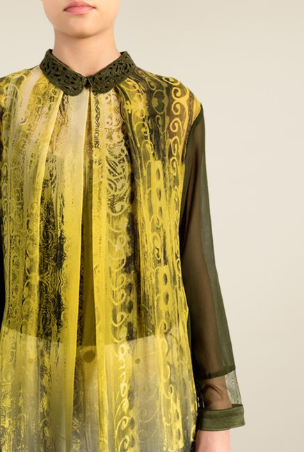 Satya Paul Olive & Black Printed Shirt