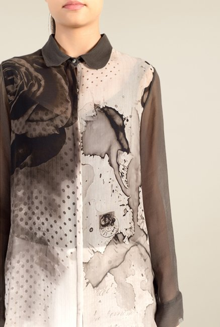 Satya Paul Dark Grey Printed Shirt