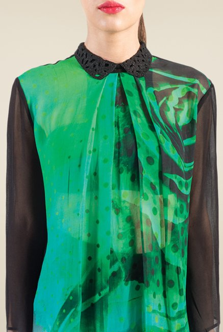 Satya Paul Green & Black Printed Shirt