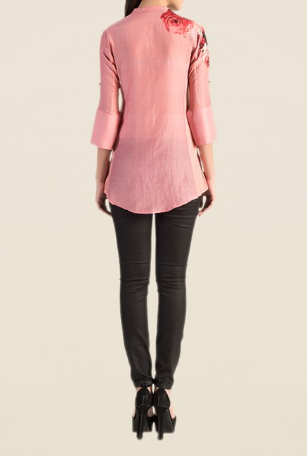 Satya Paul Light Pink Printed Shirt