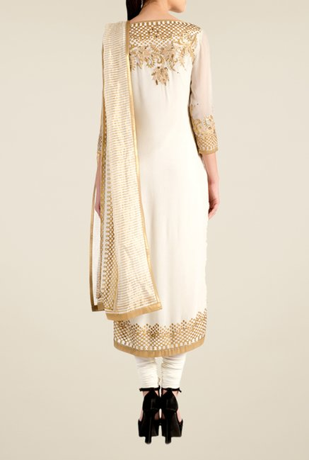 Satya Paul White Embellished Georgette Suit Set
