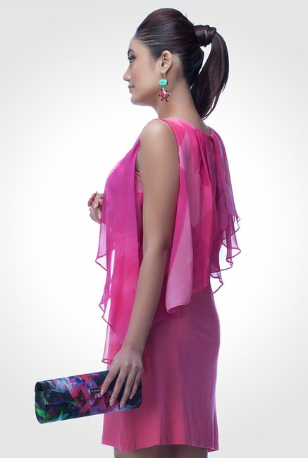 Satya Paul Pink Embellished Georgette Dress