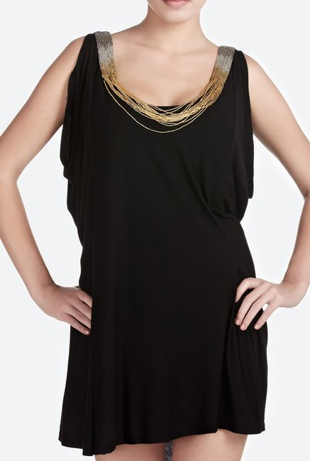 Satya Paul Black Viscose Jersey Dress