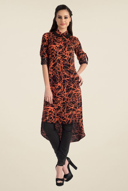 Satya Paul Black & Orange Printed Kurta - Club SP