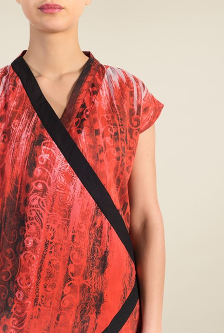 Satya Paul Red Cotton Lawn Shrug