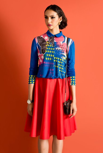 Satya Paul Blue Printed Knit Shirt