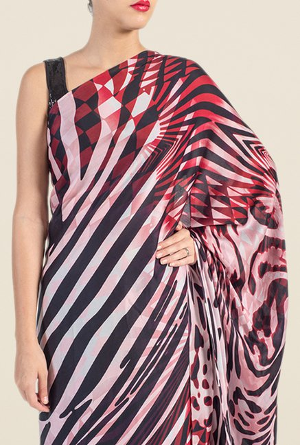 Satya Paul Red & Black Georgette Satin Saree