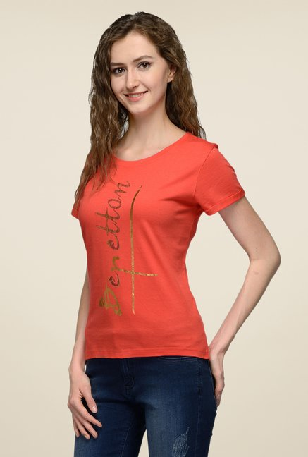 United Colors of Benetton Rust Printed T-shirt