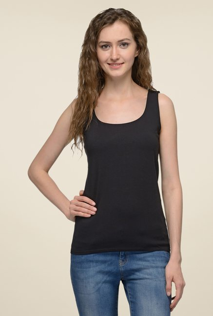 United Colors of Benetton Black Solid Singlet