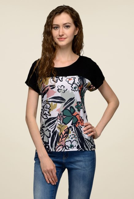 United Colors of Benetton Black Printed T-shirt