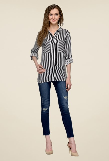 United Colors of Benetton Black & White Striped Shirt