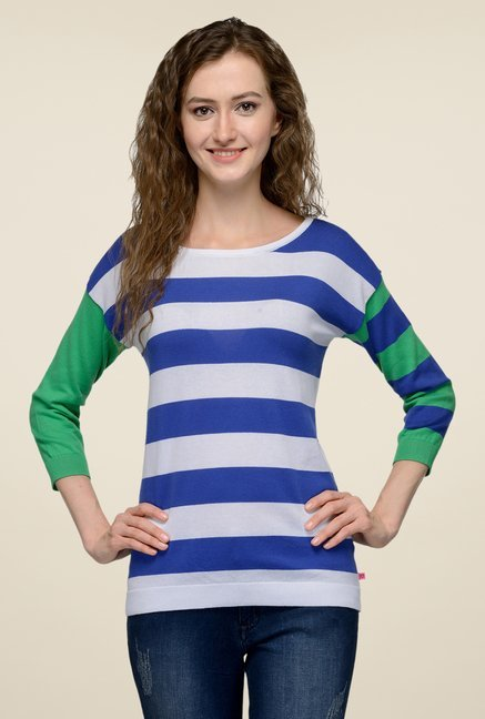 United Colors of Benetton Blue & White Striped Top
