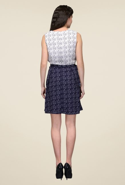 United Colors of Benetton Navy & White Printed Dress