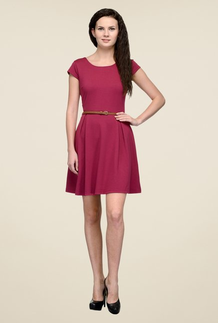 United Colors of Benetton Maroon Solid Dress