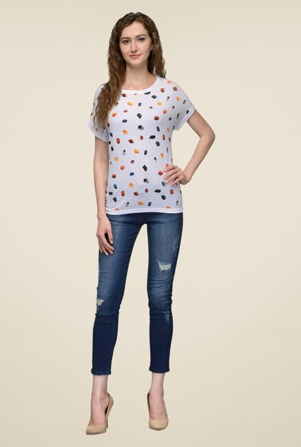 United Colors of Benetton White Printed Top