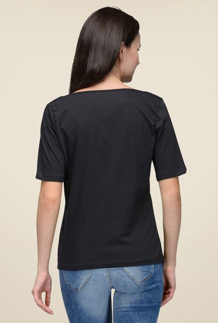 United Colors of Benetton Black Solid T-shirt