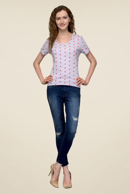 United Colors of Benetton Grey Polka Dot T-shirt