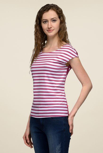 United Colors of Benetton Purple & White Striped T-shirt