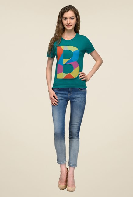 United Colors of Benetton Green Printed T-shirt