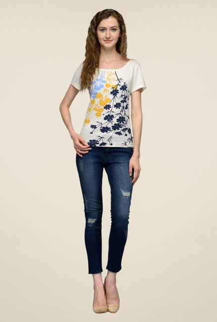 United Colors of Benetton Beige Floral Print T-shirt