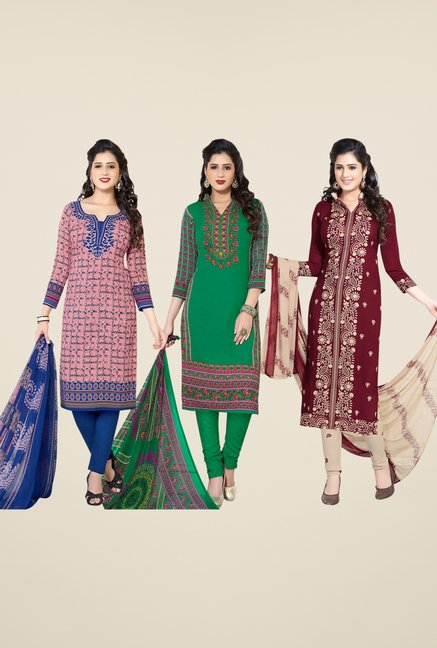 Salwar Studio Pink, Green, Maroon Dress Material (Pack Of 3)