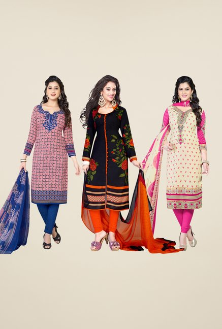 Salwar Studio Pink, Black & Beige Dress Material (Pack Of 3)