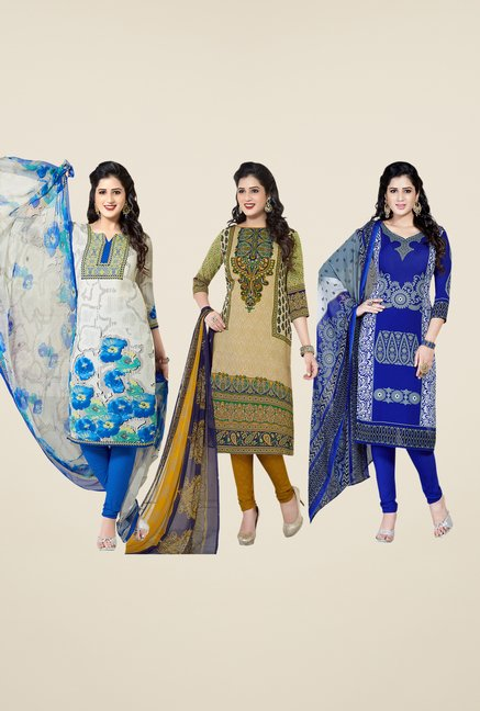 Salwar Studio White, Beige & Blue Dress Material (Pack Of 3)