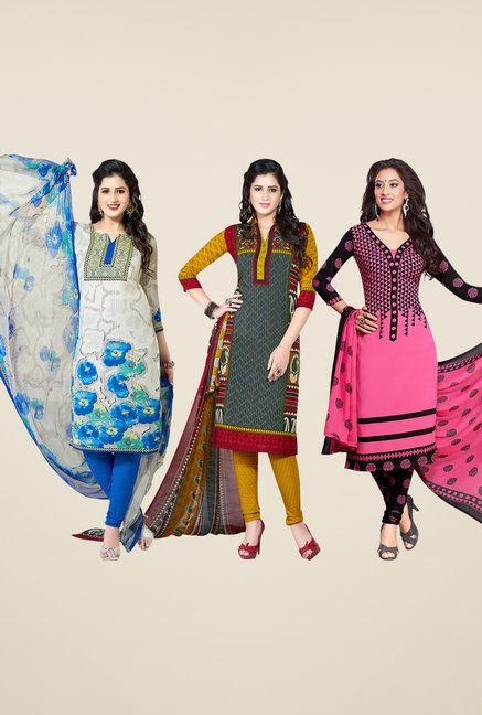 Salwar Studio White, Grey & Pink Dress Material (Pack Of 3)