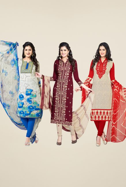Salwar Studio White, Maroon, Beige Dress Material(Pack Of 3)