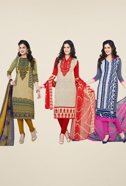 Salwar Studio Beige, Red & Blue Dress Material (Pack Of 3)