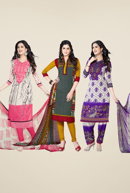 Salwar Studio Pink, Grey & Purple Dress Material (Pack Of 3)