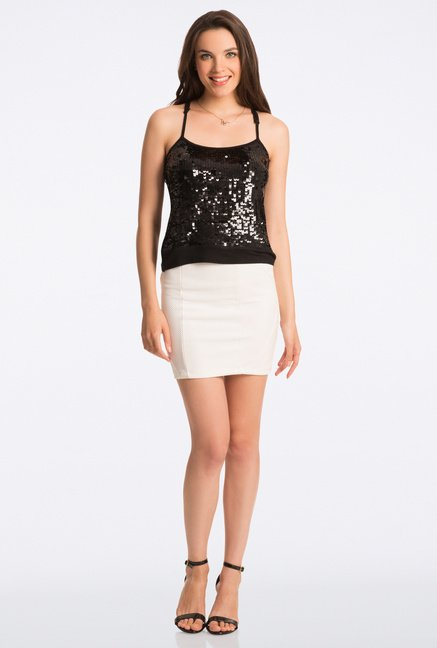 PrettySecrets Black Bling It On Sequin One Shoulder Top