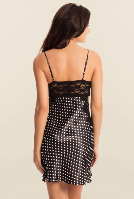 PrettySecrets Black Polka Dot Midnight Lacy Short Chemise