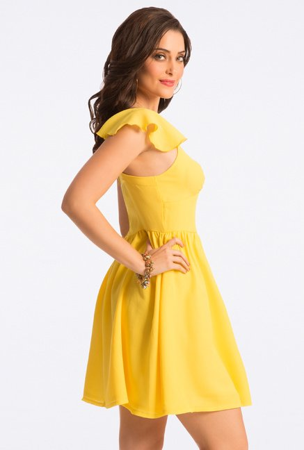 PrettySecrets Blazing Yellow Flared Dress