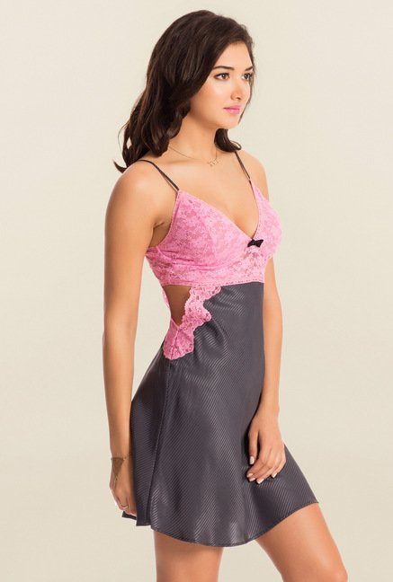 PrettySecrets Grey Striped Midnight Spell Lacy Chemise