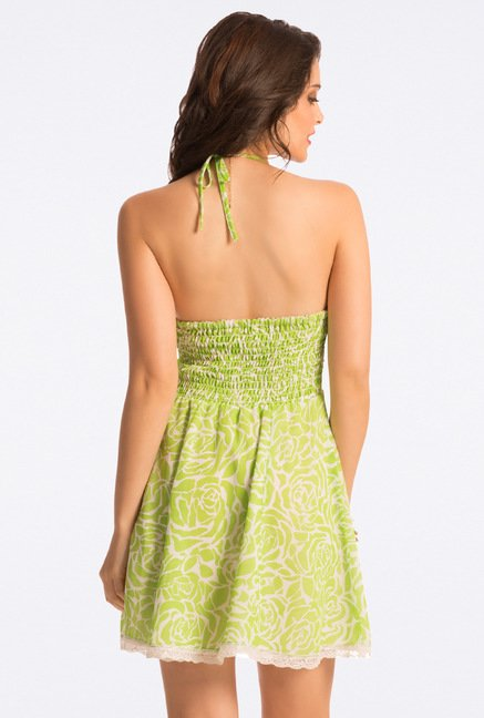 PrettySecrets Fresh Lime Rose Sweet Summer Halter Sundress