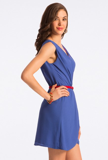 PrettySecrets Blue Wrap It Up Belted Dress