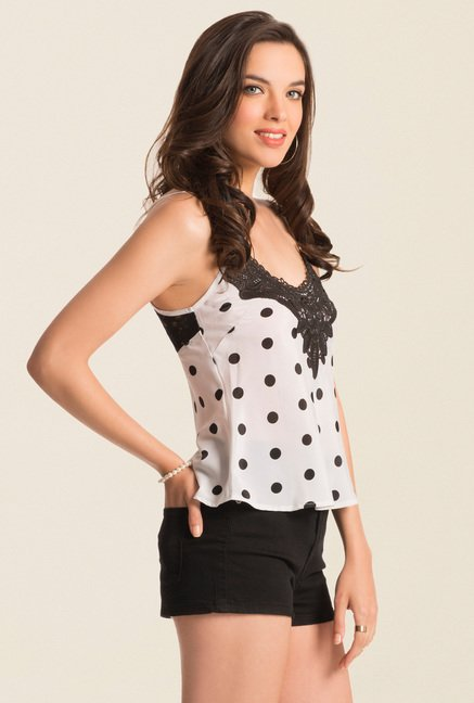 PrettySecrets Ivory Classic Polka Spring Bound Cami Top