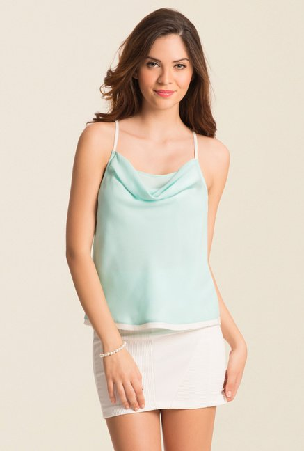 PrettySecrets Turquoise Spring Bound Cowl Neck Top