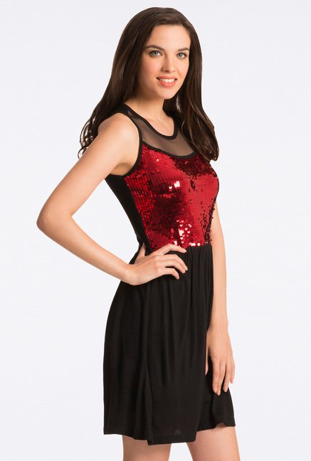PrettySecrets Fiery Black & Red Sequin Fit & Flare Dress
