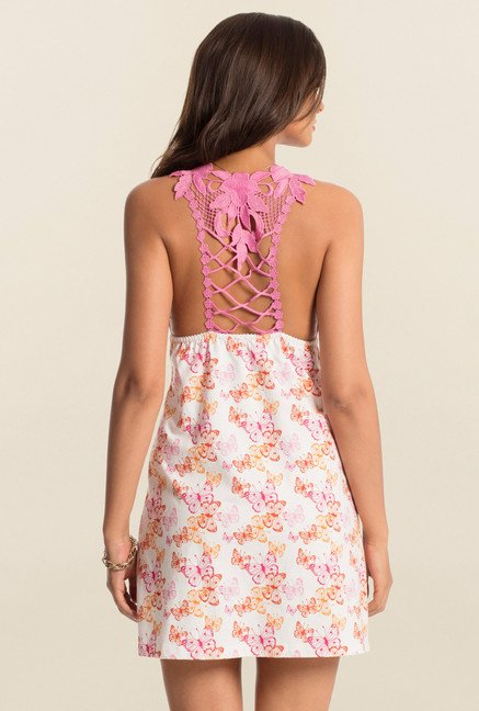 PrettySecrets Pink Flutter Printed Play Lace Short Chemise